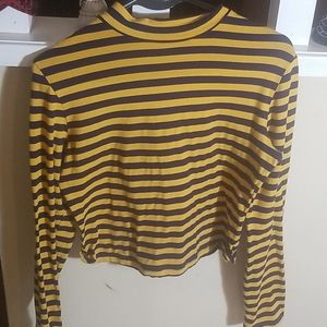 Mock neck striped long sleeve